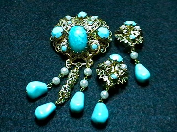 Trifari brooch, earrings